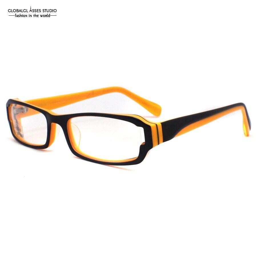 rectangle lens acetate glasses frame women black on orange all face shape fit student spectacle eyeglass