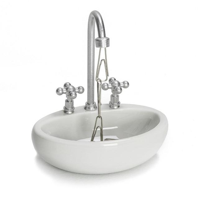 Wash Basin Magnetic Paper Clip Holder Mini Sink Faucet Desk Organize ...