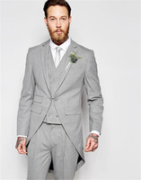 Silver Notched Lapel Groom Suits Tail Coat Three Pockets Groom Tuxedos One Buttons Hot Best Man Suits Blazer(Jacket+Pants+Vest)