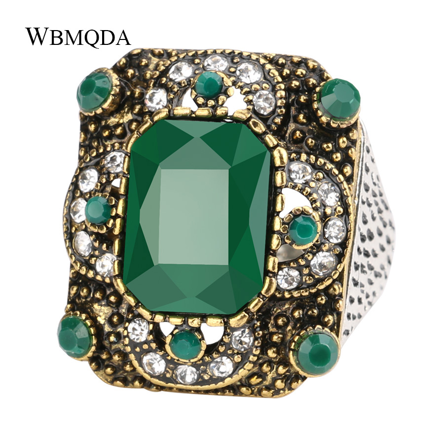 Turkish Rings For Women Antique Gold Green Resin Hollow Out Square Party Big Ring Vintage Jewelry 2018 New