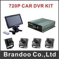 4CH CAR DVR Mobile DVR Kit With 64GB SD Card 4 Pcs AHD Camera 7 Inch