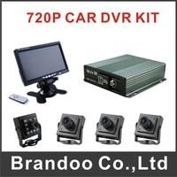 4CH CAR DVR Mobile DVR Kit With 64GB SD Card 4 Pcs AHD Camera 7 Inch