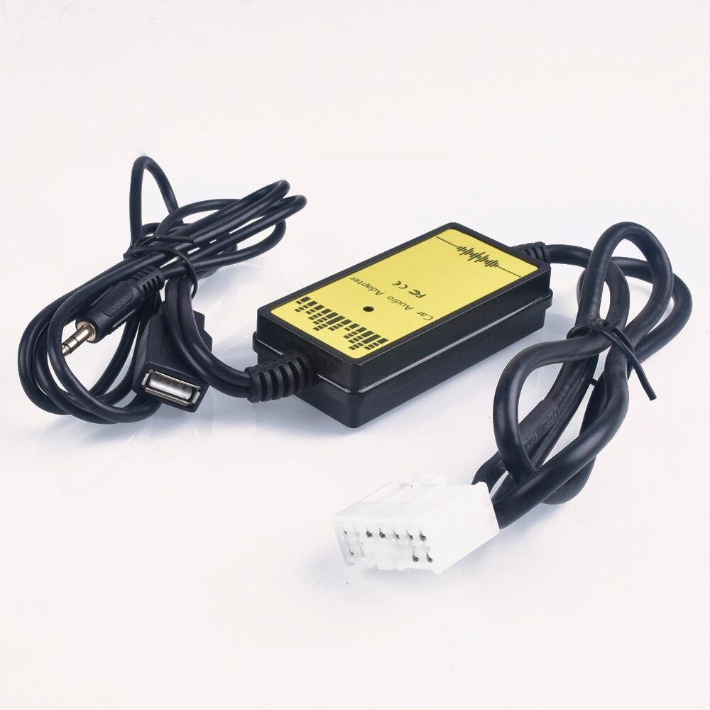 Adaptador CD carro MP3 Interface De Áudio USB AUX CD Changer (5 + 7) piN para Toyota Camry Corolla Yaris RAV4 para Lexus Is 200 GS