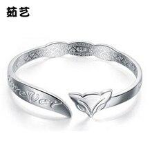 Trendy Classic silver Hot bracelet Bangle Wholesale cuff style Good fortune fox c cuff open jewelry
