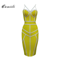 CIEMIILI 2017 Spaghetti Strap Patchwork Women Bandage Dress V Neck Solid Yellow Blue Black Red Evening