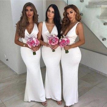 Simple Style V-Neck Sleeveless Mermaid Elastic Satin Bridesmaid Dresses Silk Wedding Party Gowns