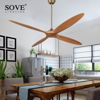 SOVE 60 Inch Wooden Ceiling Fan Dc Remote Control Decorative Wood Ceiling Fans Without Light Fan Lamp 220V Ventilador De Techo