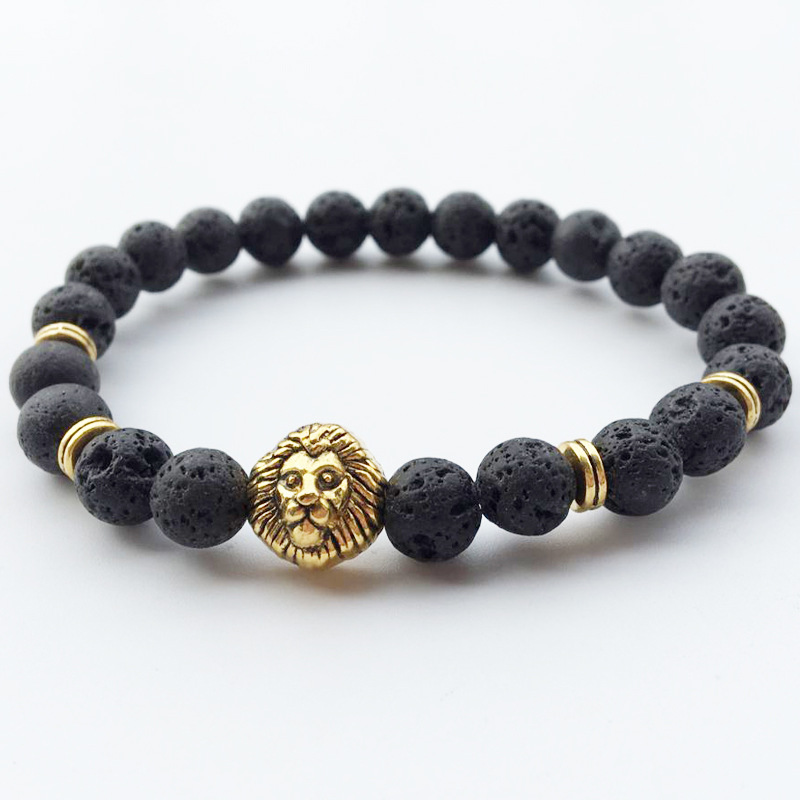 8mm Lava Stone with Lion Head Bracelets for Men Women Jewelry Beads Chakra Bracelets Male Braslet Boho Yoga Jewelry Dropshipping