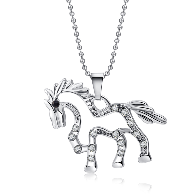 Creative Running Horse Shaped Pendant Necklace Silver