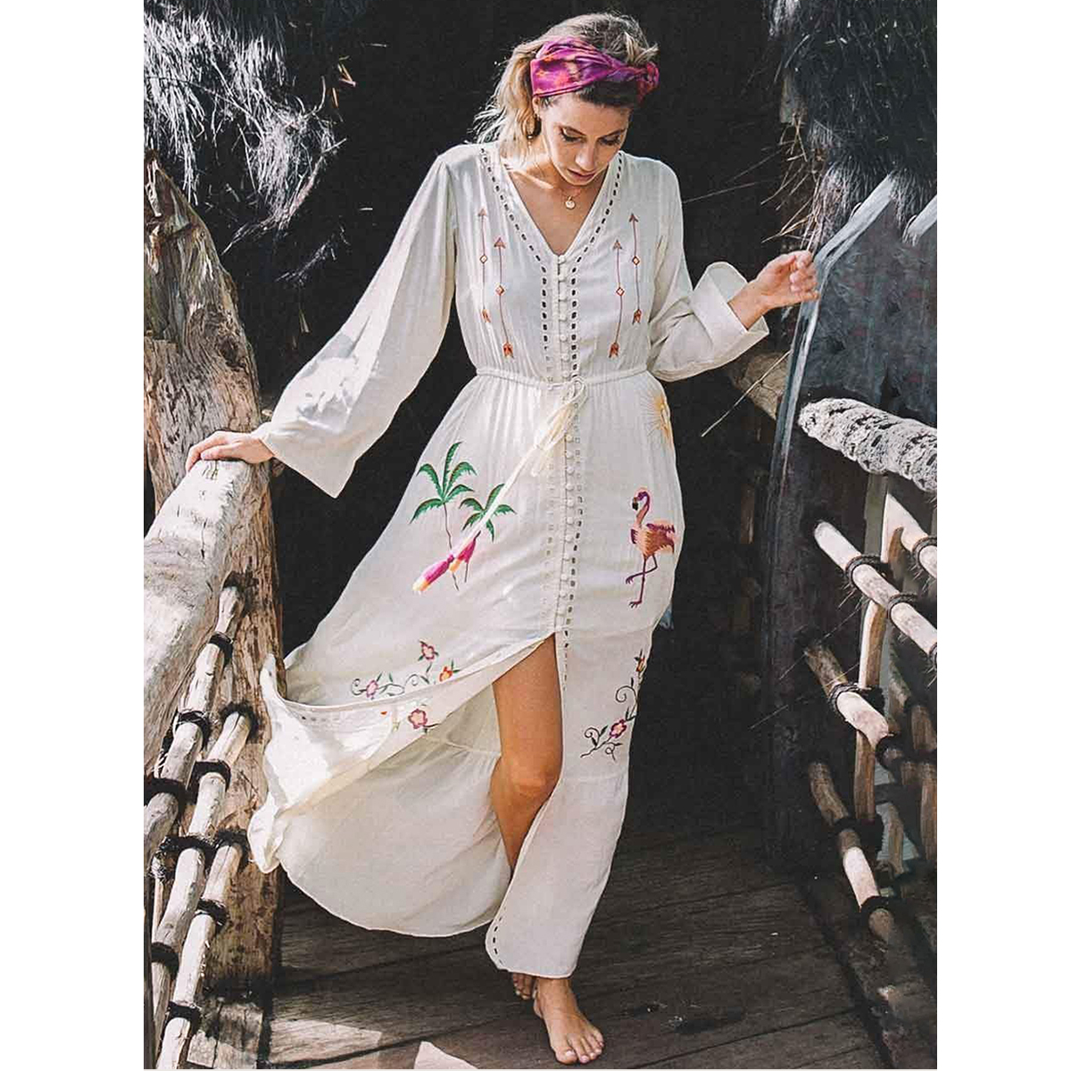 Boho Loose Embroidery Long Dress Women 2018 Summer Autumn Long Sleeve V neck Sexy Dresses Ladies Floral Beach Hippie Midi Dress outfits para playa mujer 2019