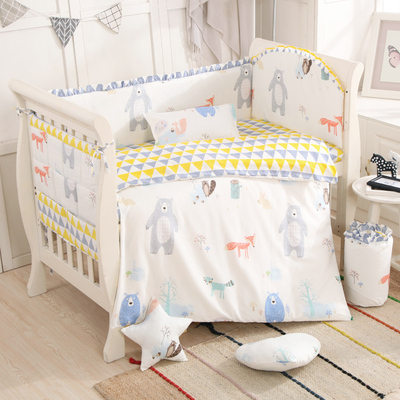 Promotion Cartoon 6 9pcs Baby cot crib bumper Bear Baby bed set bed linen bed baby