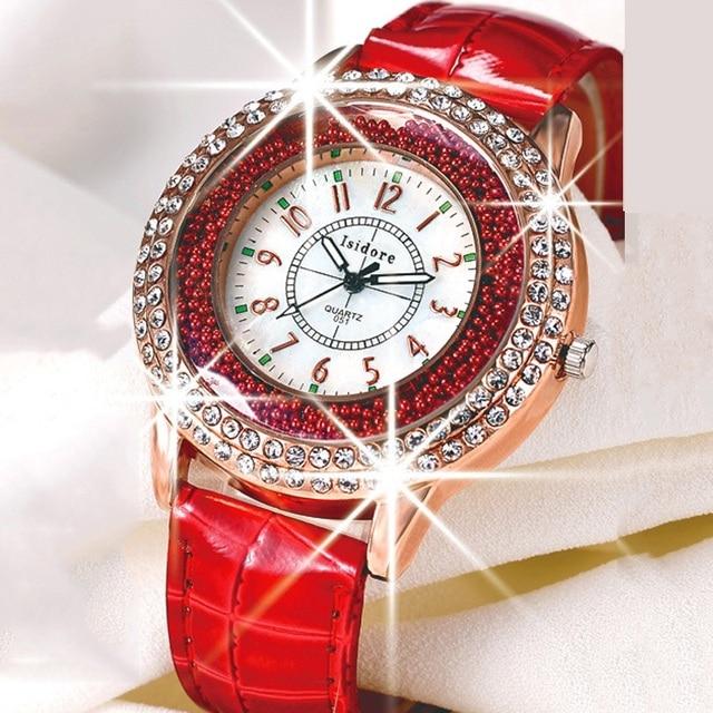 Luxury Leather Crystal Stone Watches Women Dress Watch Quartz Wristwatches Clock