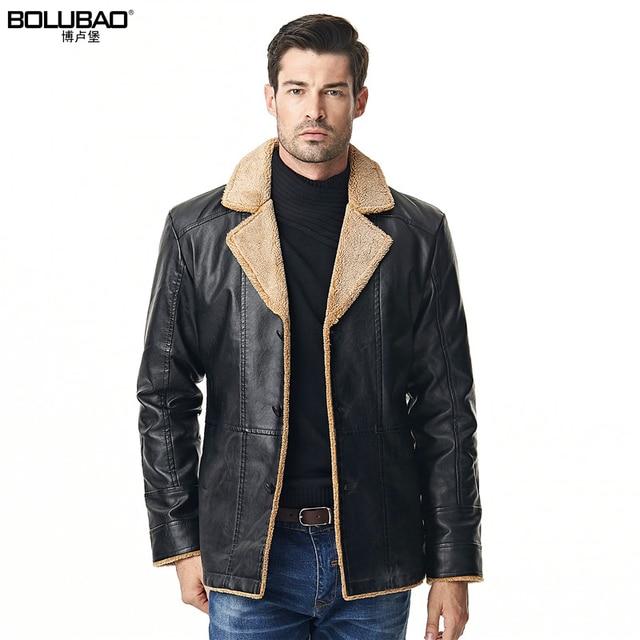 43c65486462c Bolubao New Men Leather Jackets Winter Luxury Fleece Lined Thick Motorcycle  Pilot Jacket Outerwear Black Male