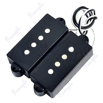 Black 4 String Noiseless Pickup Set For Precision P Bridge Bass Pickup Set yibuy 2 pieces noiseless single coil pickup ceramic magnet for 5 string electric bass