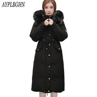 Women Winter Jacket New Cotton Down Padded Parkas 2017 Casual Long Slim Thicken Warm Big Fur Collar Hooded Jacket Coat Plus size