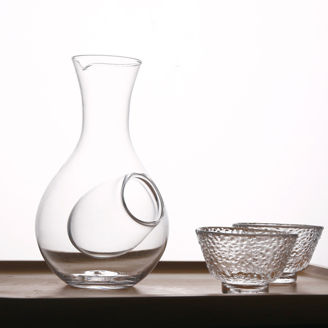 Japanese Styled Glass Wine Bottle with Cups