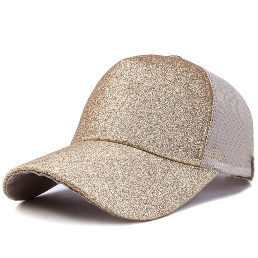 Fashion Women Girl Ponytail   Baseball     Cap   Sequins Shiny Messy Bun Snapback Hat Sun   Caps   Comfortable Cotton