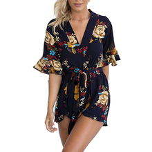 2017 Women's Boho Floral Printed Patterns Ruffles Playsuits Elegant Autumn V Neck Jumpsuits Rompers Sexy Beach Girls Short S-XL