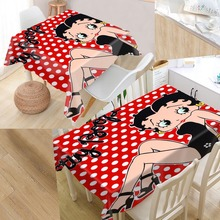 New Arrival Custom Betty Boop Table Cloth Waterproof Oxford Fabric Rectangular Tablecloth Home Party