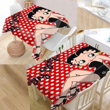 New Arrival Custom Betty Boop Table Cloth Waterproof Oxford Fabric Rectangular Tablecloth Home Party Tablecloth(China)