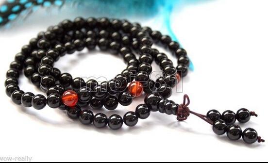 FREE SHIPPING>>>@@ > N1701 Buddhist 108 6mm Black Agate Beads Prayer Bracelet/Prayer Beads/Amulet/necklace
