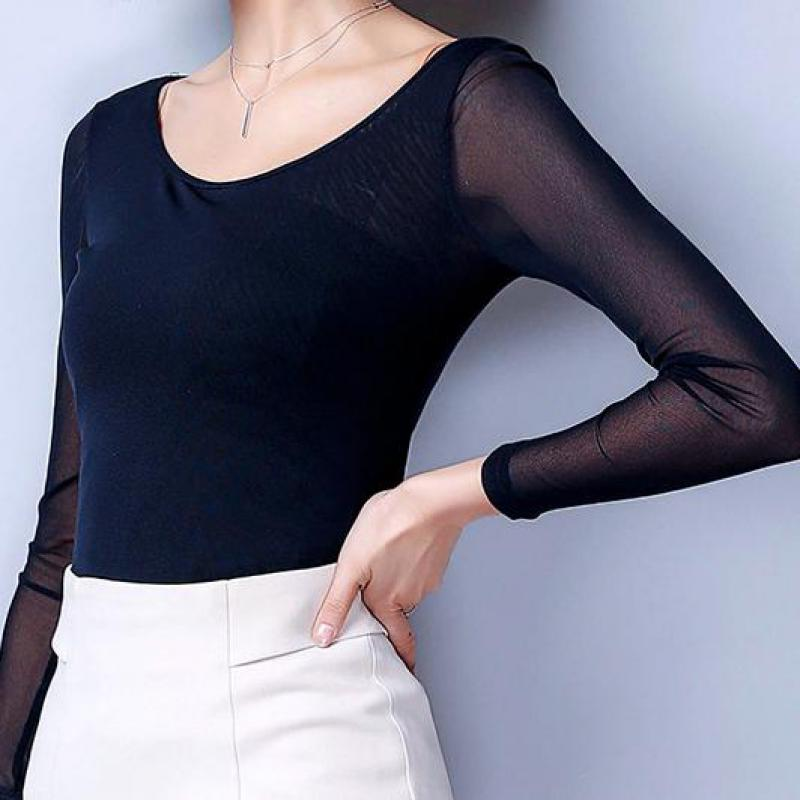 Summer Casual Mesh Women T Shirt Slim Tops Long Sleeve O Neck Bottoming Party Clothing Ropa Mujer Plus Size M-3XL New Arrival