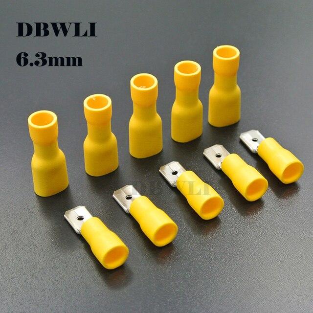 100 sztuk 50pairs 2.8mm 4.8mm 6.3mm kobieta mężczyzna elektryczne złącze do przewodów izolowane złącze zaciskowe Spade FDFD2-250 MDD2-250
