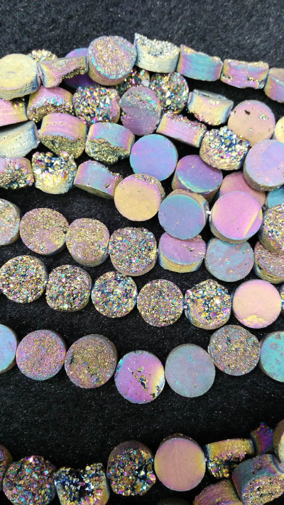 Drilled--AA Grade 8-12mm full strand Genuine Duzy Drusy Agate Round Button Rose AB mystic Rainbow Blue Champagne Clear White Cab