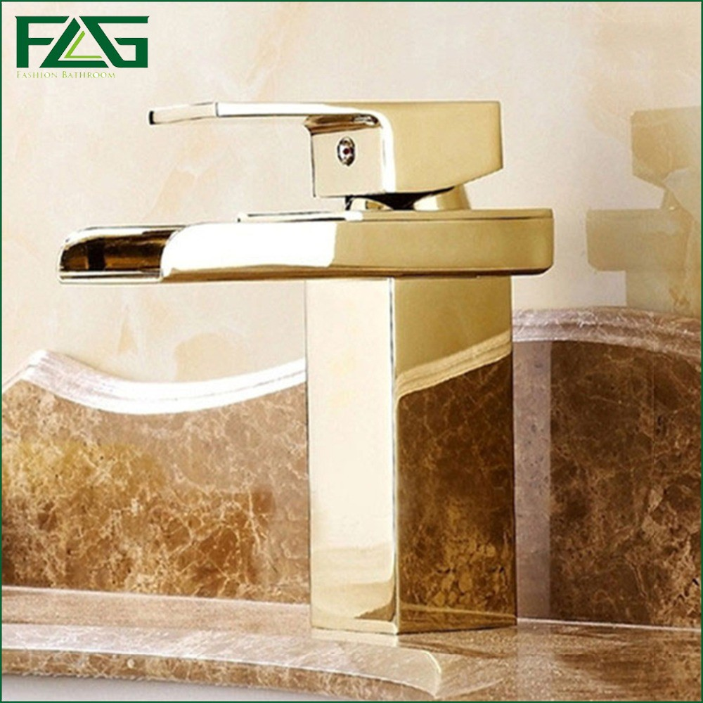 ФОТО FLG Newfangled Basin Faucet Gold Square Waterfall Faucet Bathroom Waterval Kraan Sphere Cold&Hot Lavatory Vessel Sink Tap M079