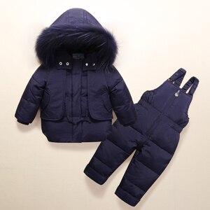 Image 4 - Moda kış erkek bebek giyim setleri 1 3Y erkek kayak takım elbise çocuklar spor tulum sıcak palto kürk ördek aşağı ceketler + önlük pantolon