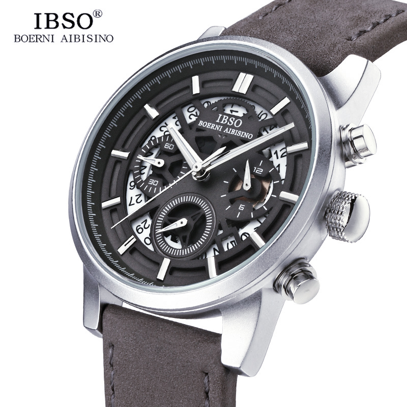 IBSO Brand New Hollow-carved Mens Watches 2018 Calendar Stopwatch Multifunction Sports Quartz Watch Men Relogio Masculino ibso outdoor leisure sports watches for men genuine leather band quartz mens watches 2018 fashion waterproof relogio masculino
