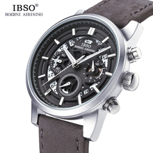 IBSO Brand New Hollow-carved Mens Watches 2019 Calendar Stopwatch Multifunction Sports Quartz Watch Men Relogio Masculino
