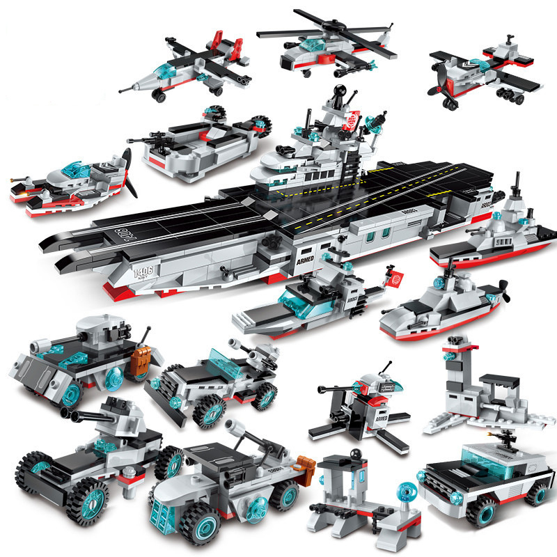 8in1 643pcs Children s educational building blocks toy Compatible city Military series Aircraft and carrier battleship