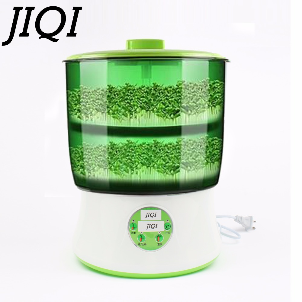 JIQI 110V Automatic Bean Sprouts Maker Thermostat Electric Germinator Vegetable Green Seedling Sprout Growth Bucket Machine US image