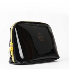 Quality PU leather Zipper Pillow Shaped Brand Cosmetic Bag Make Up Toiletry Bag Cosmetic Pouch Black trousse de maquillage