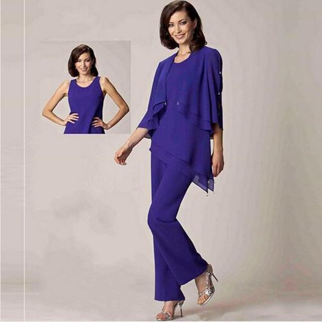 Nueva madre Suit gasa púrpura diseñador madre de la novia novio trajes pantalón madres vestidos de traje de madre de la novia