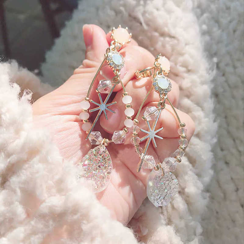 MENGJIQIAO 2019 Korean New Handmade Beading Crystal Big Water Drop Earrings For Women Statement Opal Stone Long Pendientes Gifts