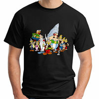 New Asterix Obelix The Gaul Comic Cartoon Men's Black T Shirt Sizes S to 2XL