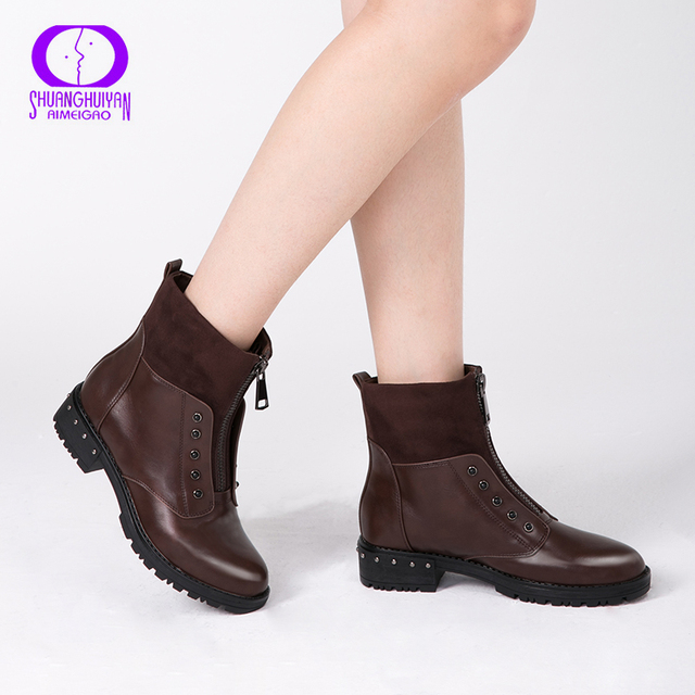 Женские полусапоги AIMEIGAO, ботинки на низком каблуке с молнией спереди, черного, коричневого цвета, с подкладкой из