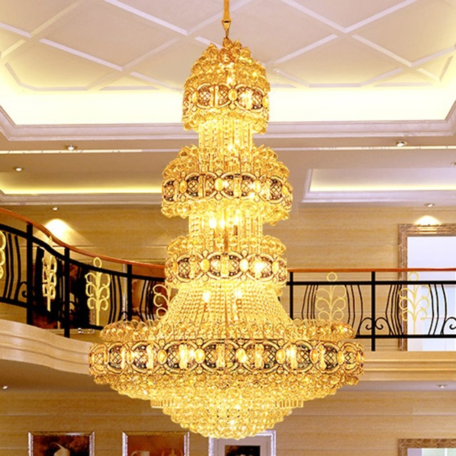 Gold crystal chandelier led crystal chandeliers lighting fixture big gold crystal chandelier led crystal chandeliers lighting fixture big modern chandelier hotel clubs lobby hall villa aloadofball Image collections