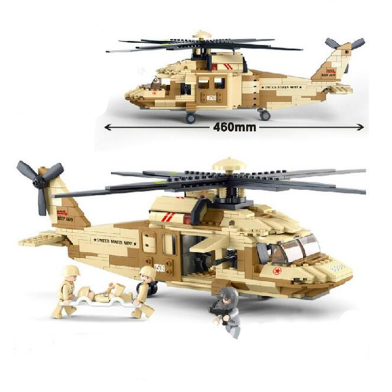 ФОТО uh-60 black hawk military helicopter building blocks decool 562pcs educational bricks models building toys compatible with m156