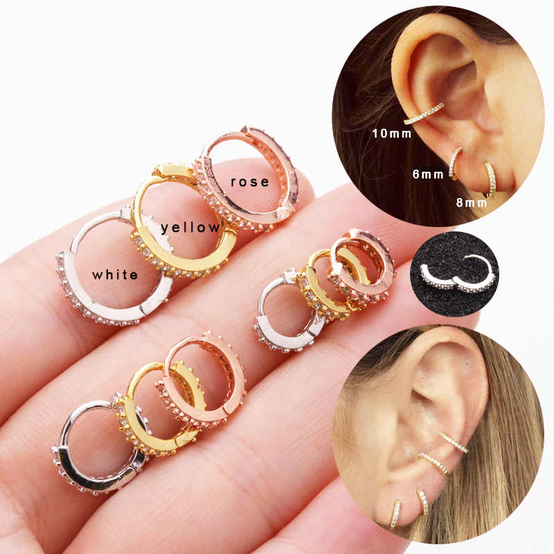 Sellsets 1 Piece  Easy To Put On Ear Popular Rose Gold Color CZ Hoop Earring Daith Tragus Helix Lobe Piercing Jewelry