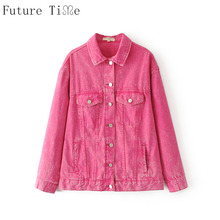 Future Time Women Pink Denim Jackets Washed Solid Coats Female Long Sleeve Turn Down Collar Outwear Ladies Jeans Coats Top WT143