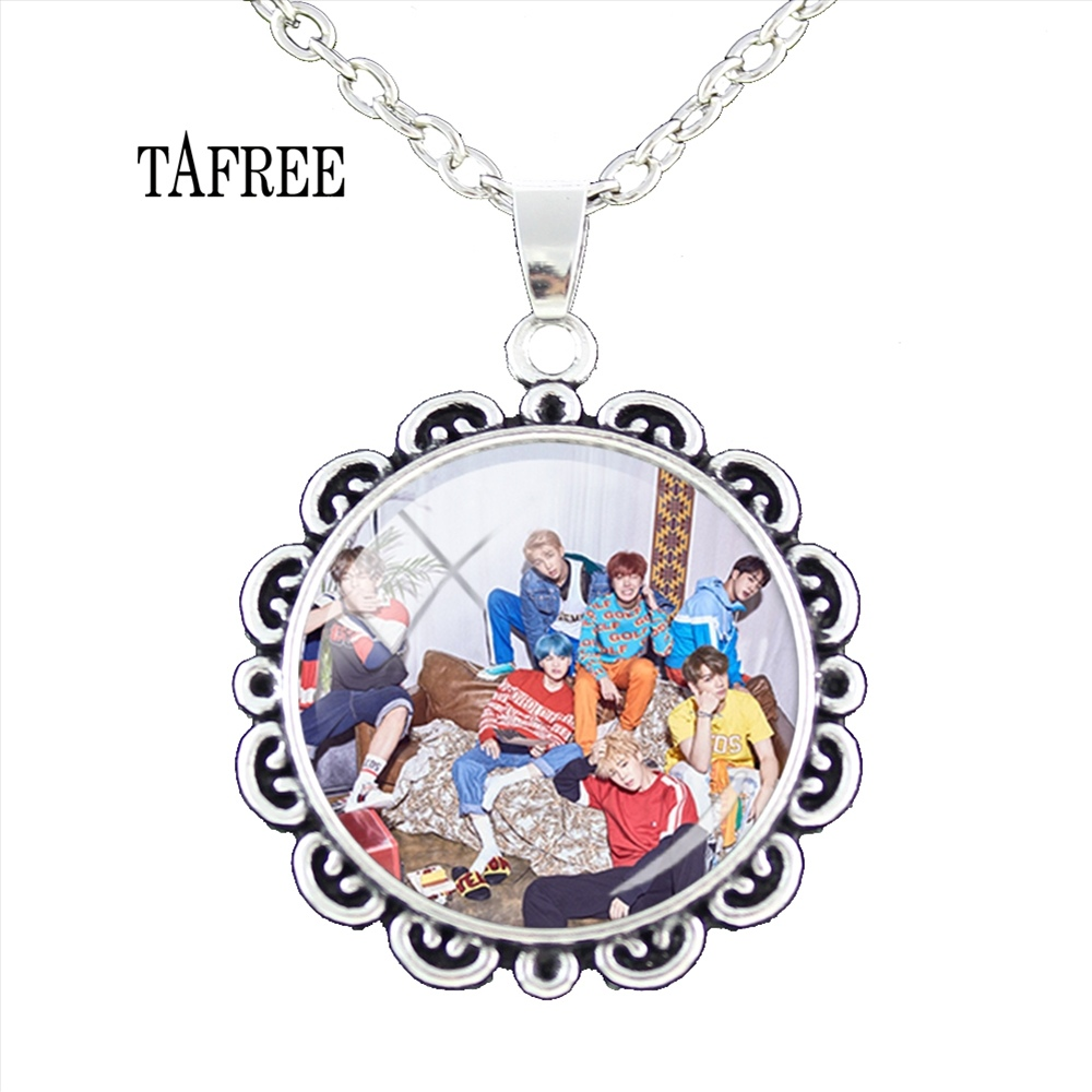 TAFREE BTS EXO NCT127 Flower Pendant Necklace Fashion Metal Chokers Statement Necklaces Pendants Women Girls Gifts Jewelry BTS87