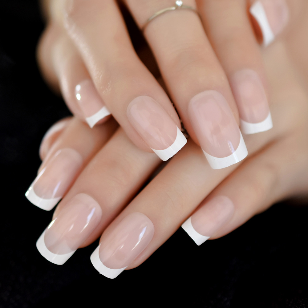 Hello Paris Classical French Nail Medium Natural Artificial Nails Square White French Style Smile Line Finfernails
