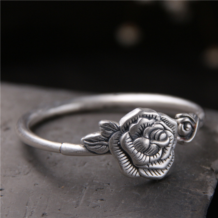 S999 Sterling Silver Bangle Retro Carved Rose Bracelet Thai Silver Folk Wind Opening Bracelet s999 fine silver lotus pisces play lady bracelet wholesale sterling silver folk style ways openings