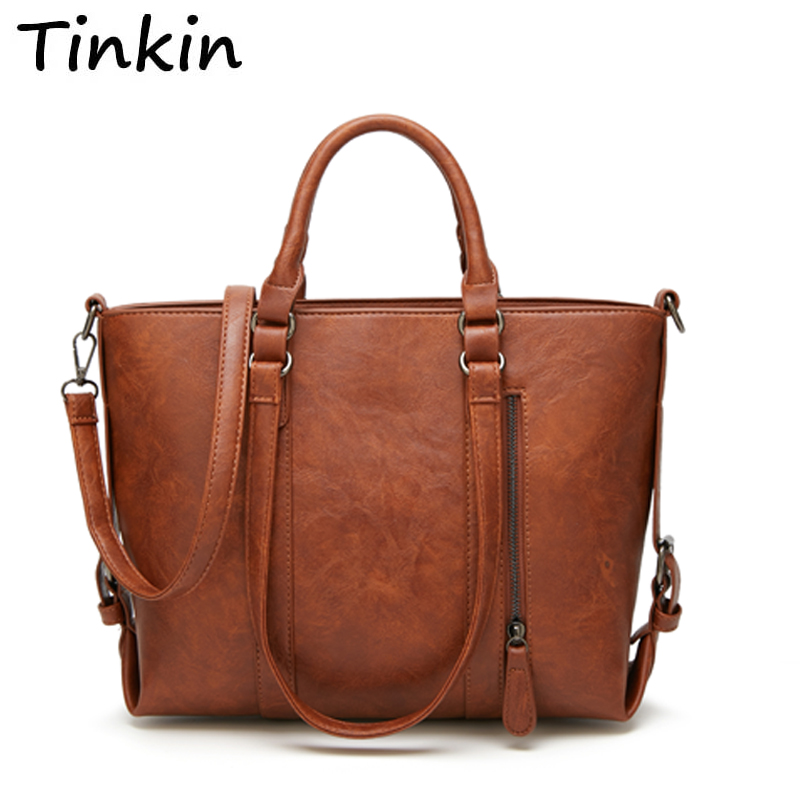 Retro larger capacity PU leather wome shoulder bag