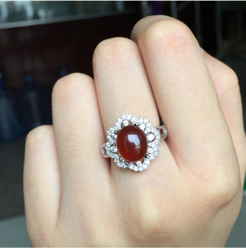 Garnet finger ring Free shipping Natural real garnet Ring 925 sterling silver 9*11mm gem For men or women ring chic artificial gem shell embossed ring for women