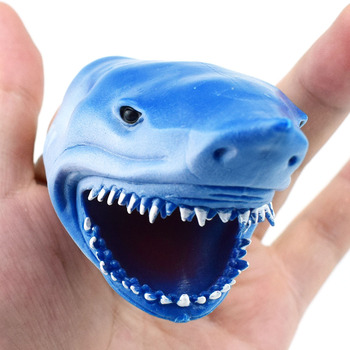 New ARRIVAL 40Piece Soft TPR Bule or Gray Shark Finger Puppet Toy for Tell Story Kids Gift Wholesale