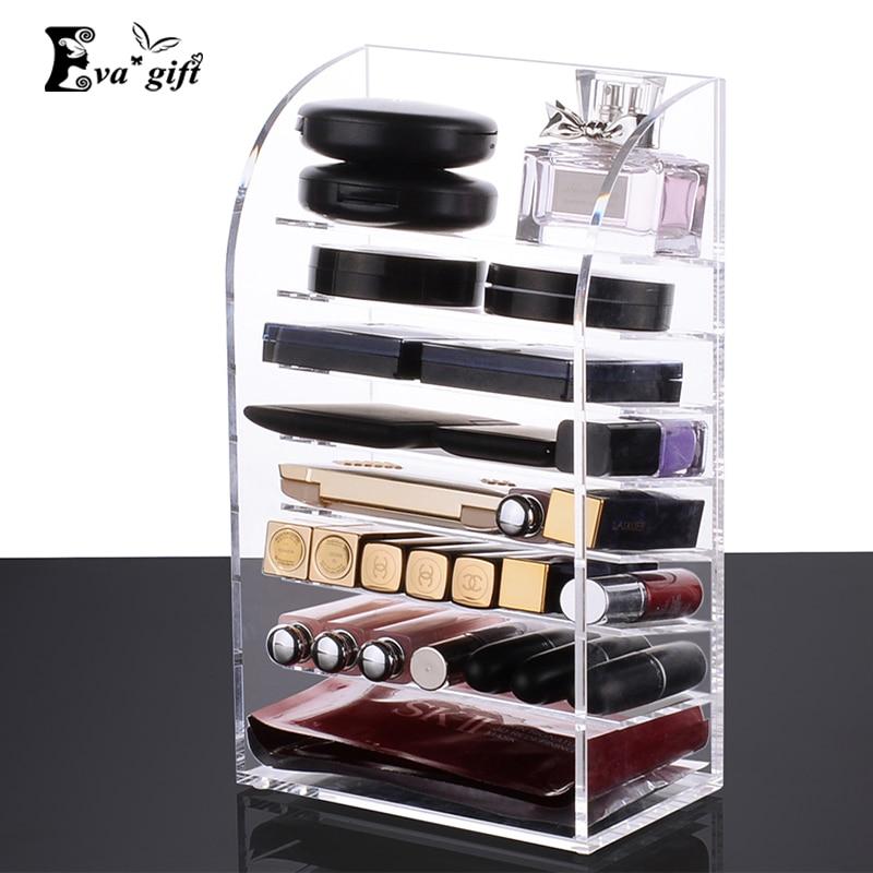 Clear 8 layer lipstick case Acrylic lipstick holder case Cosmetic Organizer Makeup Storage Nail polish Display